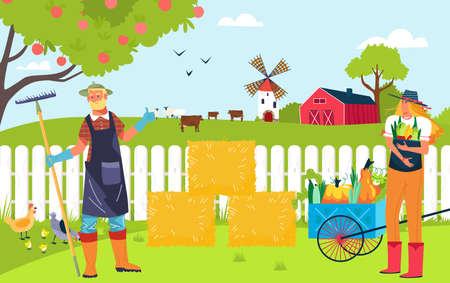 Concept organic farm, country agriculture, food production in village, products for sale in market, flat style vector illustration  イラスト・ベクター素材