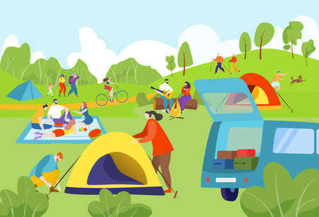 Summer camping outdoors, joyful people, traveling tourists, nature tourism concept, design cartoon style vector illustration.  イラスト・ベクター素材