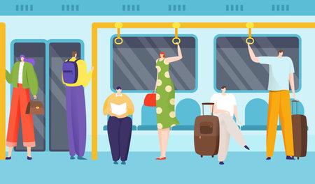 Passengers in underground, inside train carriage, city public transport, high-speed metro, design flat style vector illustration.