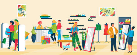 People in clothing store, successful retail, new fashion, seasonal sale, satisfied customers, cartoon style vector illustration.  イラスト・ベクター素材