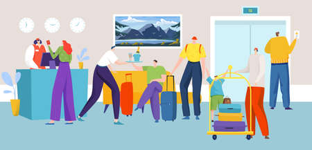 People in hotel reception, computer desk, administrator registers visiting travelers design cartoon style vector illustration.