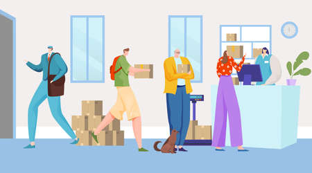 People deliver mail to office, parcel courier delivery business, customer service, design cartoon style vector illustration.