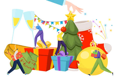 Happy people preparing for new year, merry december celebration, christmas decorations, design cartoon style vector illustration.