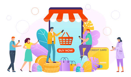 People shopping, buying online through online store, convenient store application, design cartoon style vector illustration.