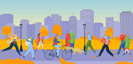 People walking, direction in downtown, successful city business, bright autumn street, design cartoon style vector illustration.  イラスト・ベクター素材