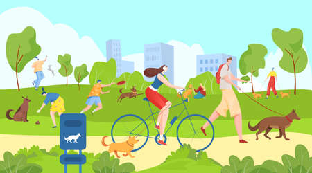 People walk with pets in city park, happy summer outdoors, useful leisure, healthy lifestyle, cartoon style vector illustration.  イラスト・ベクター素材