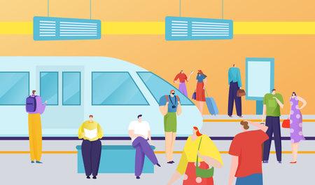 Urban public transport, rapid transit, waiting passengers, modern train, metro station, design cartoon style vector illustration.  イラスト・ベクター素材