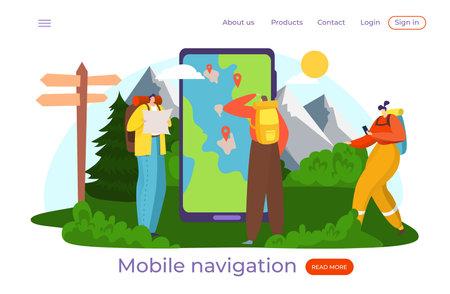 Smart map for tourist, travel with smartphone, inscription mobile navigator, GPS help, show, design flat style vector illustration  イラスト・ベクター素材