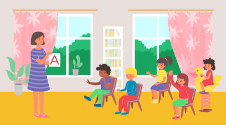 Teacher with children at lesson in kindergarten, girl playing at school, child in class, design cartoon style vector illustration.