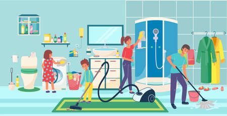 Joyful family, cleaning bathroom, cozy home, housework, helping children to parents, design cartoon style vector illustration.
