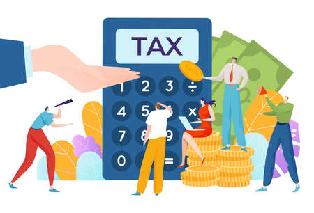 Time to pay taxes, financial concept, money accounting, business and finance, legal income, cartoon style vector illustration.
