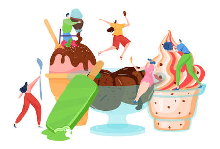 Tiny people decorate ice cream, dessert time, delicious sweet food, hot summer, woman cook, cartoon style vector illustration.  イラスト・ベクター素材