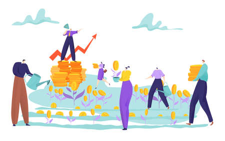 Tiny people grow money on field concept, successful business strategy, lot cash, design cartoon style vector illustration.