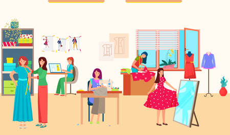 Women work in sewing fashion studio, textile business, tailor in atelier, woman designer, design cartoon style vector illustration  イラスト・ベクター素材