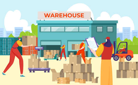 Warehouse inscription on building, logistics for distribution and delivery goods, design cartoon style vector illustration.  イラスト・ベクター素材