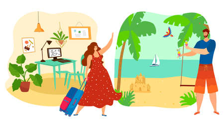 Girl goes from work to rest summer vacation concept, travel tour, happy trip, man on beach, cartoon style vector illustration.