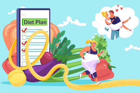 Overweight woman, stick to diet plan, dream about love, healthy lifestyle concept, design cartoon style vector illustration.