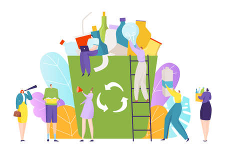 Tiny people collect trash, recycling garbage concept, environmental pollution, city ecology, cartoon style vector illustration.