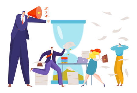Angry boss shout, concept deadline before end project, hurrying employees in office, design cartoon style vector illustration. Vectores