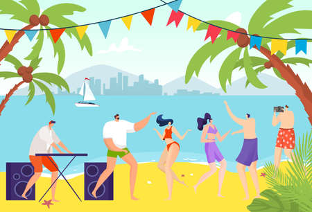 Youth party, people dancing on beach, cheerful young people, cool holiday, modern dance, design cartoon style vector illustration.
