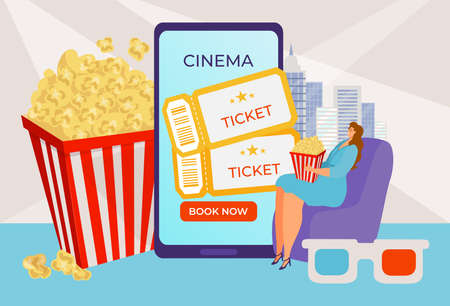 Book cinema ticket online, internet service, application for watching films, buy subscription, cartoon style vector illustration.