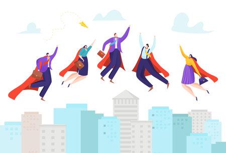 Business leadership, superhero flying, hero businessman, super character, cartoon style vector illustration, isolated on white.