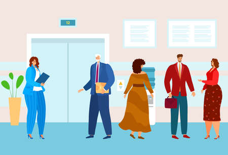 Business people in office waiting elevator, end working day, elderly businessman, design cartoon style vector illustration.