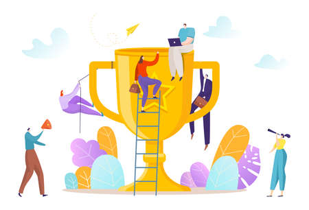 Business team climbing, successful teamwork, rise up to success, career in achieving results, cartoon style vector illustration.