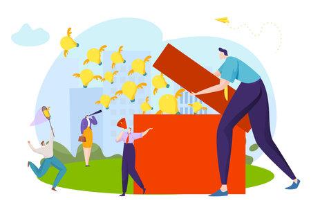 Businessman spreading bulb ideas concept, creative creativity, business inspiration, design cartoon style vector illustration.