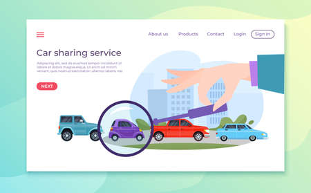 Car selection, rent vehicle, website services for automobile owners, convenient vehicle, design cartoon style vector illustration.