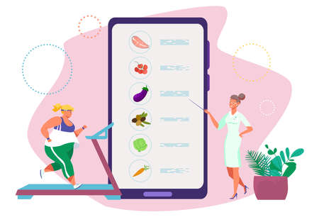 Diet doctor consulting concept, online nutritionist, wholesome food, healthy lifestyle, design cartoon style vector illustration.