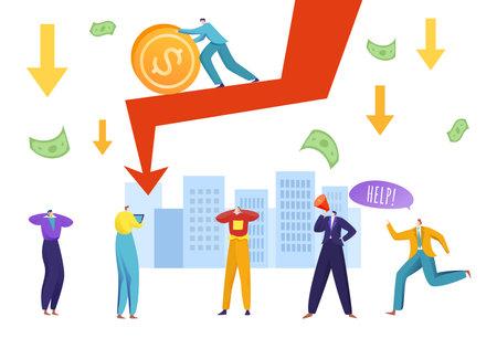 Economic crisis, depreciated finance concept, stock falling down, stock falling diagram, cartoon style vector illustration.