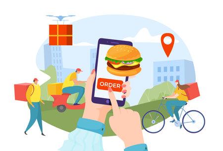 Fast food delivery, online ordering, internet store, mobile service, smartphone app, design cartoon style vector illustration.