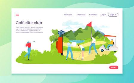 Golf competition landing, green field, active sport, inscription elite golf club, bright banner, cartoon style vector illustration
