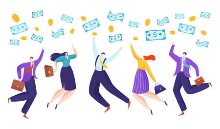 Successful business, happy people with cash, financial success, profitable business concept, cartoon style vector illustration.