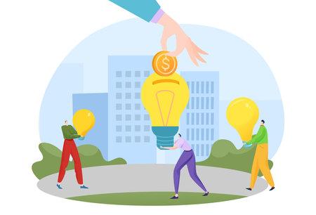 New investment idea, money concept, business innovation, financial sponsor, marketing success, cartoon style vector illustration.  イラスト・ベクター素材