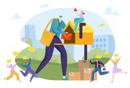 Vail marketing concept, e-mail delivery, digital message, internet business, mailbox, design cartoon style vector illustration.  イラスト・ベクター素材
