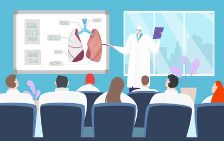 Medical conference about lung diseases, presentation treatment method, human organ, design cartoon style vector illustration.