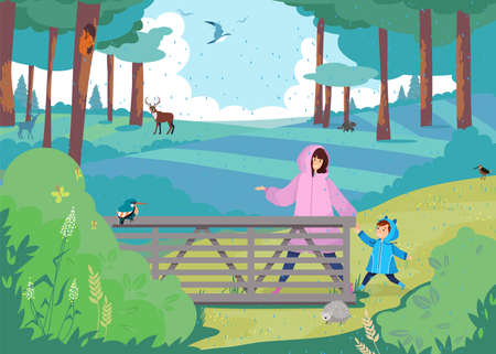Mother and son walk in forest under rain, family vacation, happy boy, having fun, design cartoon style vector illustration. 写真素材 - 163955812