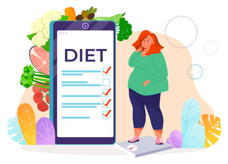 Overweight woman on diet, healthy eating, obesity danger, health care, healthcare concept, cartoon style vector illustration.