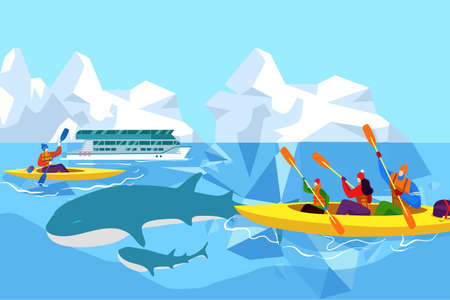 People in arctic look at blue whales, travel outdoors, ocean mammals, beautiful environment, cartoon style vector illustration. 写真素材 - 163956003