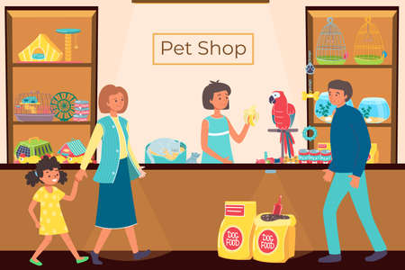 People in pet shop, store with animals, food for dogs, cute little cat, successful business, cartoon style vector illustration.  イラスト・ベクター素材