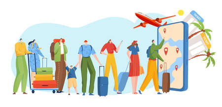 People queue online travel service, mobile travel business, route selection via smartphone, cartoon style vector illustration.