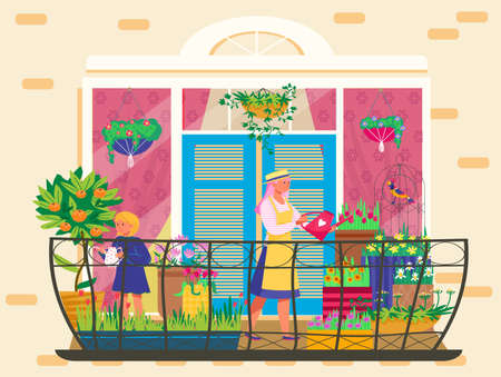 People take care plants on balcony, tiny potted garden, home gardening, healthy lifestyle, cartoon style vector illustration. 写真素材 - 163956023