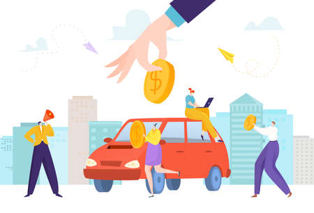 Saving money for car, financial loan, accumulation money, business financing, purchase automobile, flat style vector illustration.