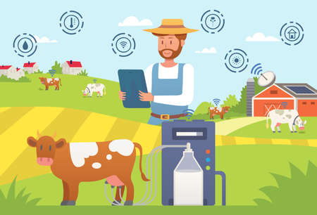 Smart farm, farmer using tablet, successful farming, modern mobile technology, internet business, flat style vector illustration. 写真素材 - 163956034