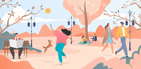 People walk in spring, pink morning, city park, walking outdoors, beautiful nature, design cartoon style vector illustration.