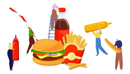 Tiny peoples with fast food, men and women preparing burger, design cartoon style vector illustration, isolated on white.