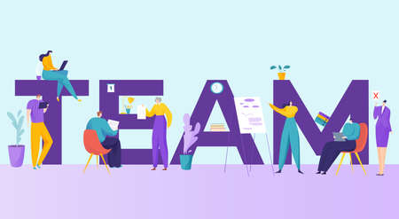 Team work tiny people, inscription with big font, successful business concept, design cartoon style vector illustration.
