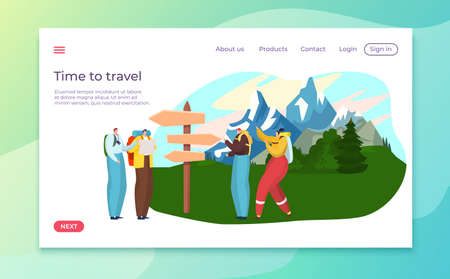 Travel and hiking tourists landing, vacation in nature, convenient tourist site, design cartoon style vector illustration.